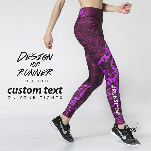 Custom Tights | Artist Series | 13Dream Rider - Wolf Totem | Maroon - RunStyler - 5