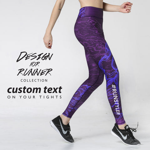 Custom Tights | Artist Series | 13Dream Rider - Wolf Totem | Purple - RunStyler - 1