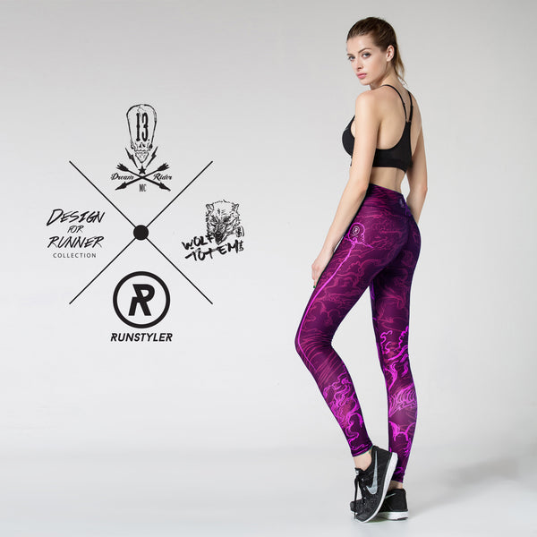Custom Tights | Artist Series | 13Dream Rider - Wolf Totem | Maroon - RunStyler - 6