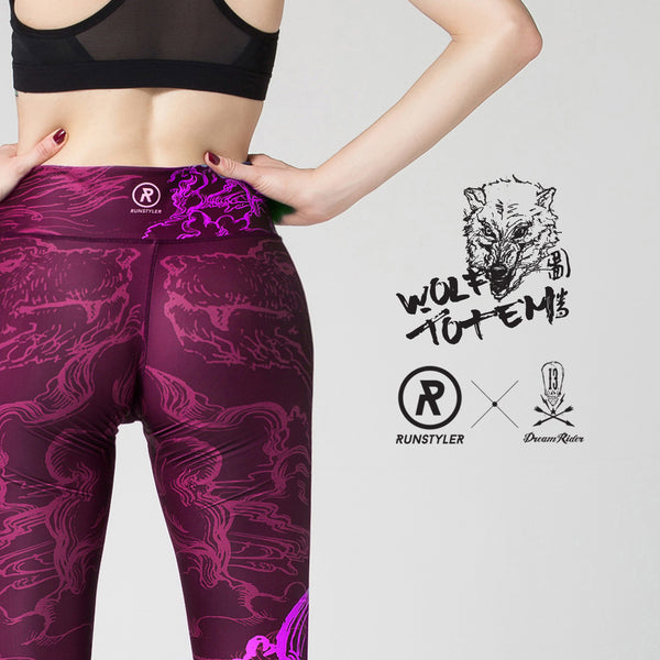 Custom Tights | Artist Series | 13Dream Rider - Wolf Totem | Maroon - RunStyler - 3