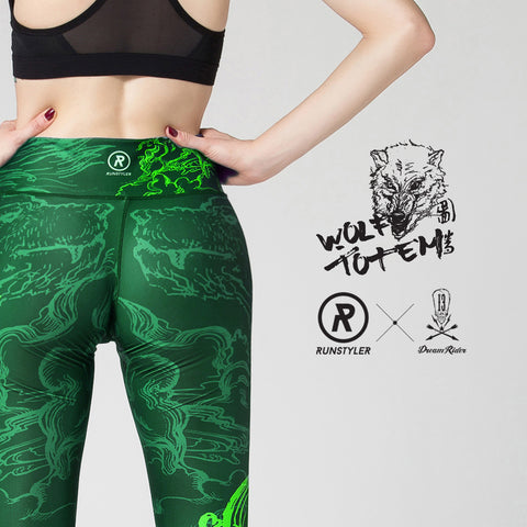 Custom Tights | 13 Dream Rider | - Wolf Totem | Green - RunStyler - 1