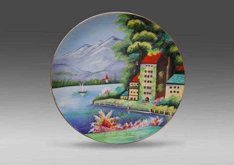 Hand painted ceramic wall plate by Y. Funabashi (Japan)