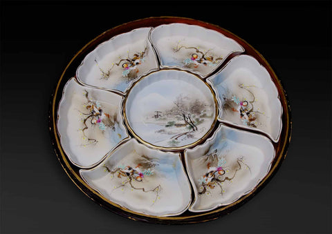 A Japanese hand painted supper set