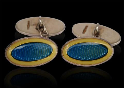 A fine Hallmarked silver and blue enamel pair of cufflinks