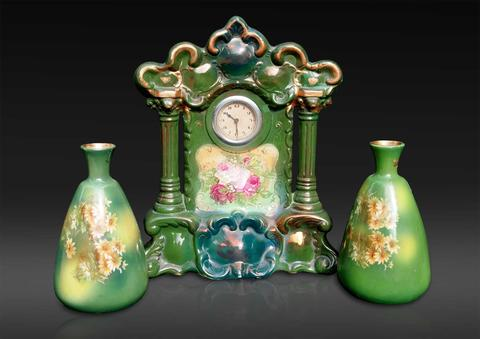 Porcelain Garniture Set comprising Rococo Style Clock with matching vases