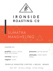 Sumatra Mandheling<br/> <b> washed // Raisin, Plum, Dark Chocolate </b> <br/> 12 oz. Whole Bean Coffee
