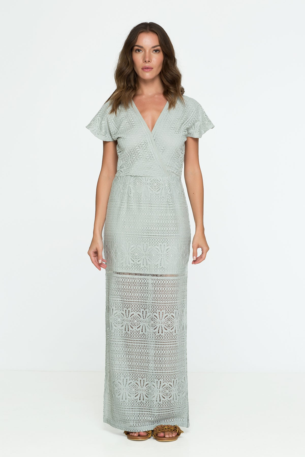 Lace Maxi Dress Wedding Pastel Green Sage