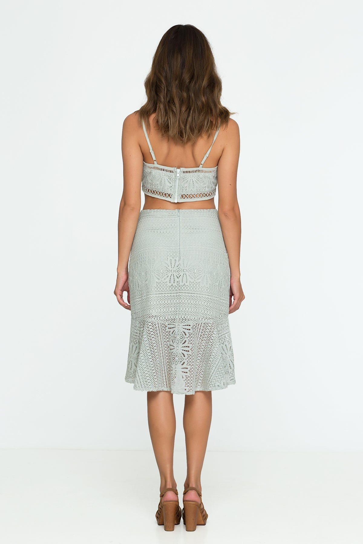 Lace Skirt Pastel Green Sage Office Pencil Skirt