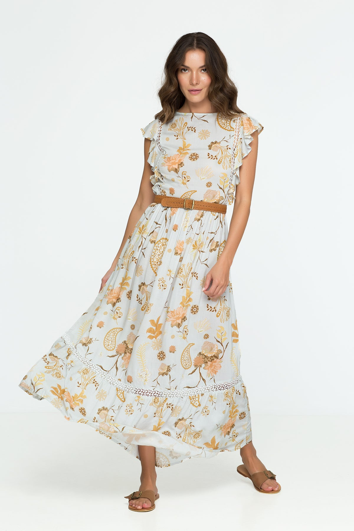 Flower Ruffle Maxi Dress