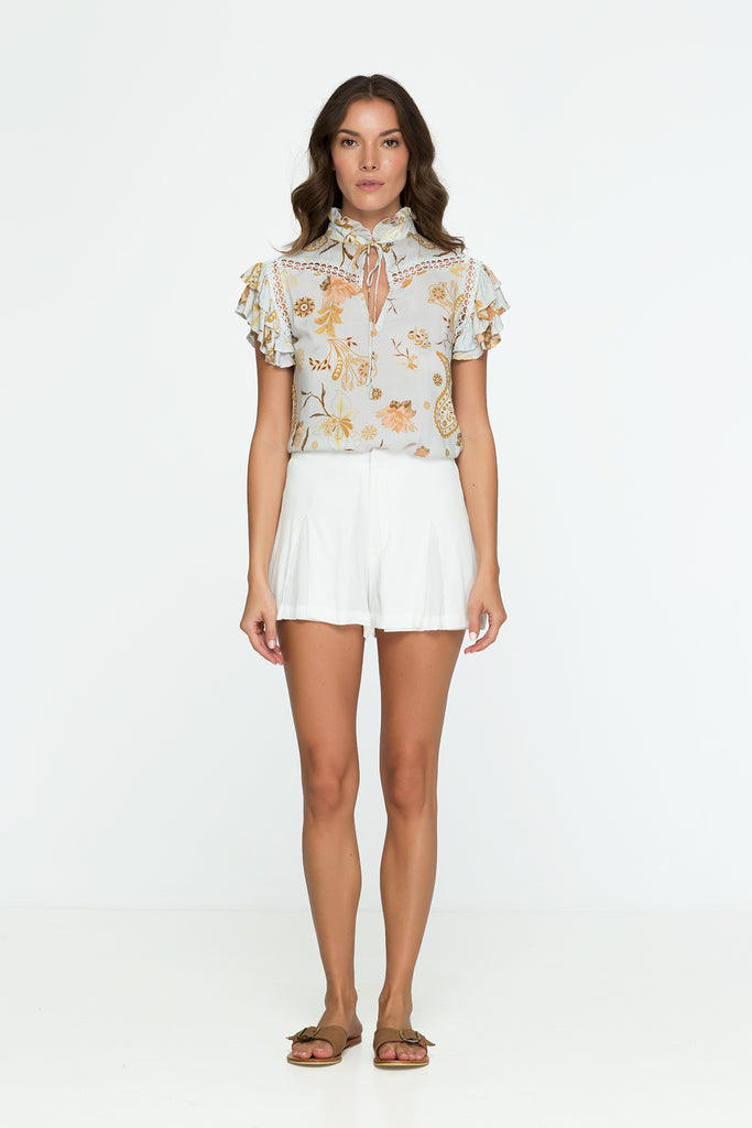 Floral Top Flower Print Short Sleeve