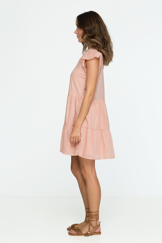 cotton mini dress pink pastel oversize