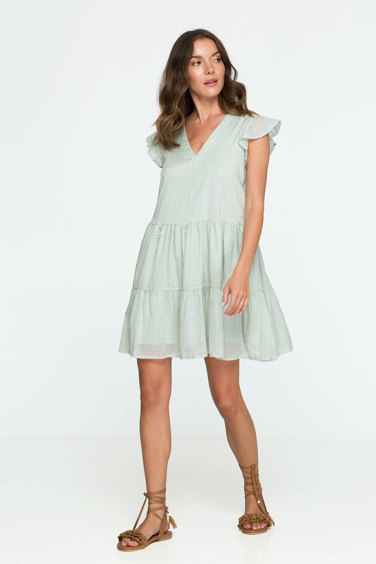 cotton mini dress green sage pastel oversize
