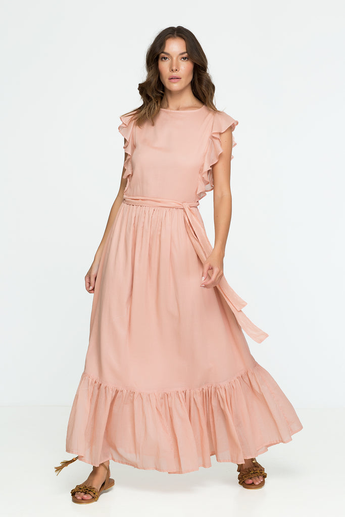 Cotton Dress Pastel Pink Ruffle Maxi