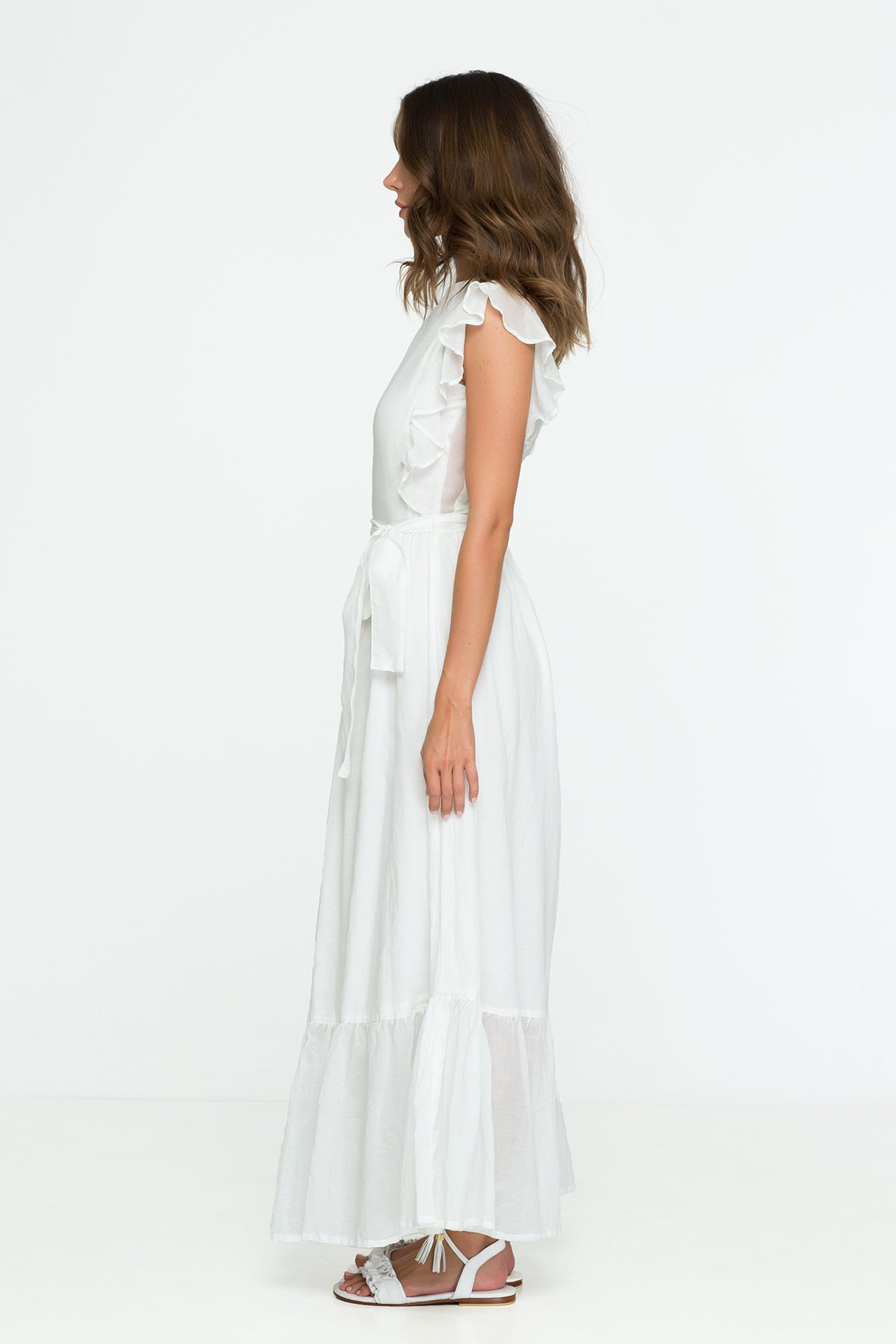 Cotton Dress Pastel White Ruffle Maxi