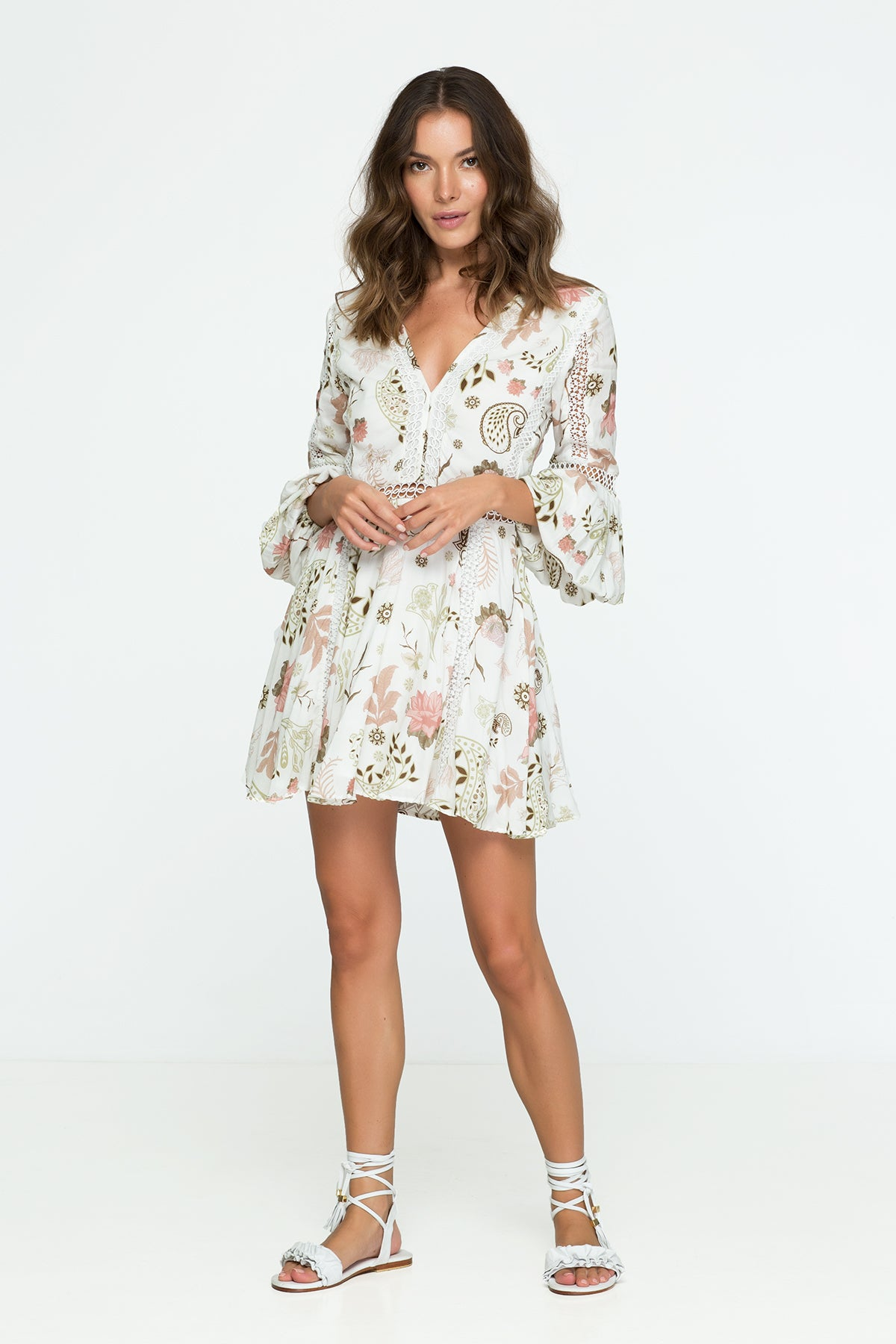 Flower Print Lace Mini Dress