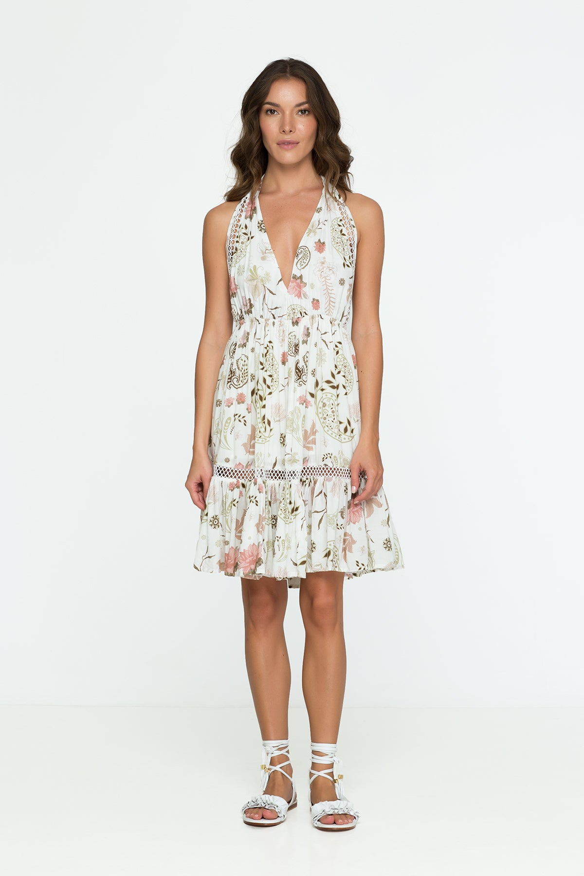 Flower Neck Floral Mini Dress White