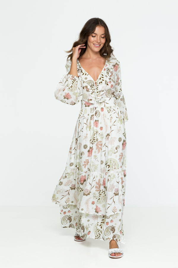 Ruffle Flower Floral Print Maxi Dress