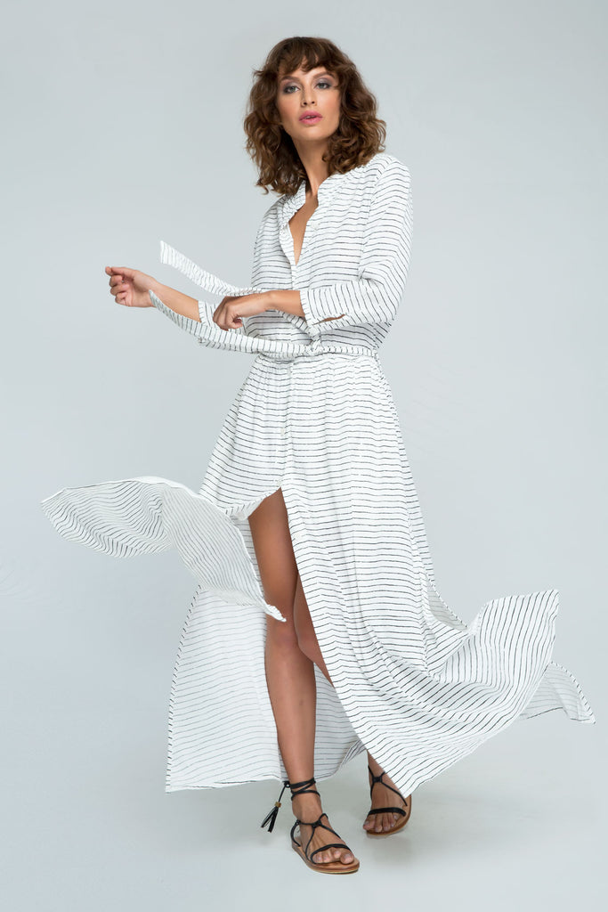 PM1586 Fine Lines Maxi Shirt Dress