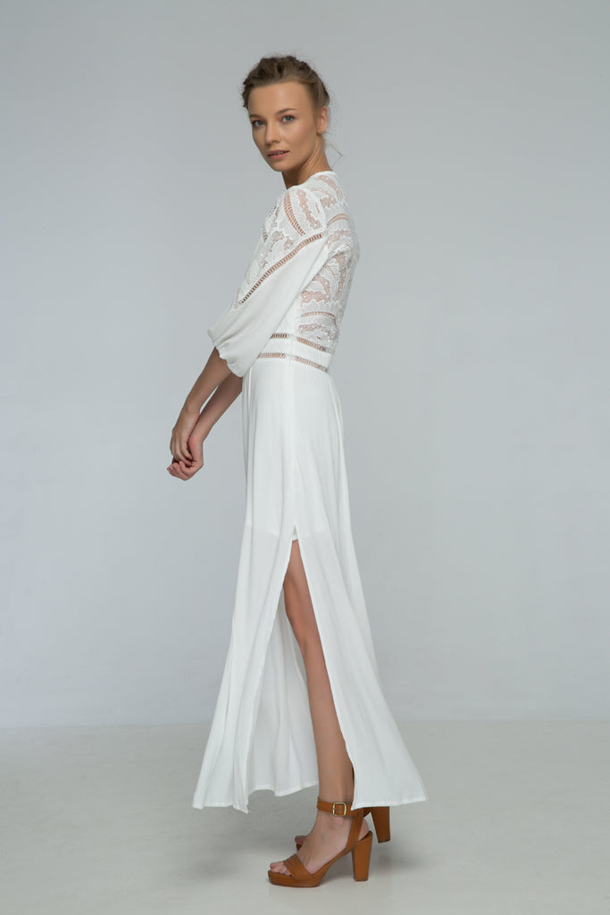 White Leaf Maxi Dress