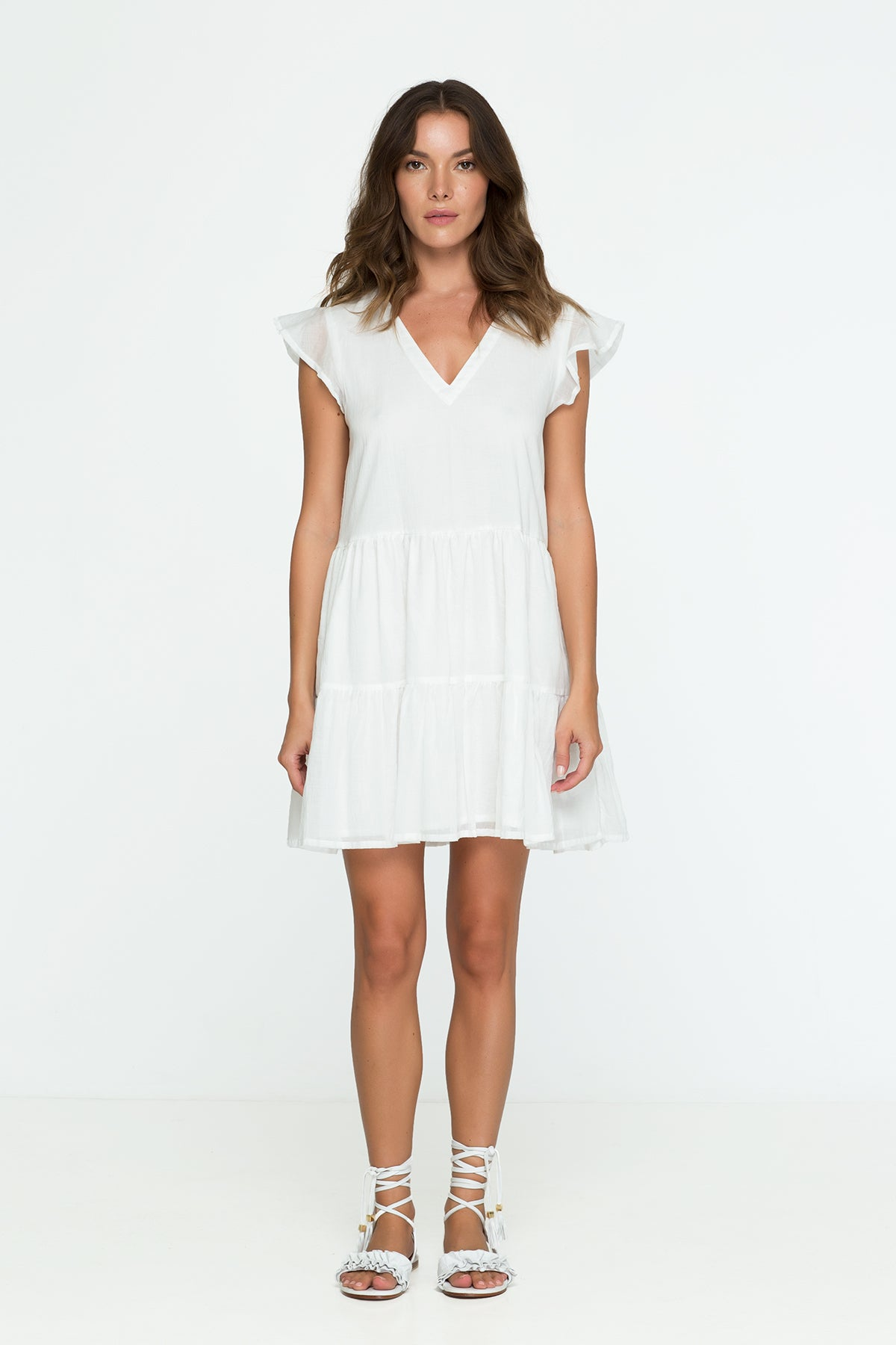 cotton mini dress white pastel oversize
