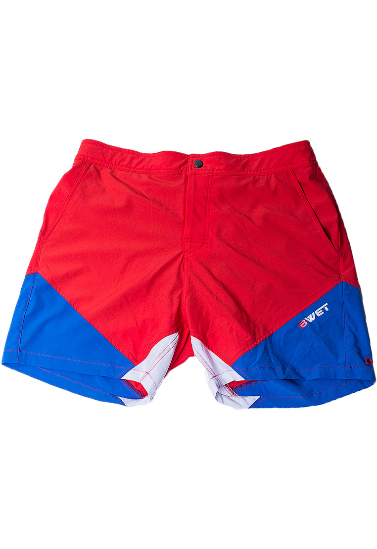 "Eco-Friendly Quick dry UV protection Perfect fit Red Beach Shorts ""Butterfly"" Side pockets and back zipper pocket"