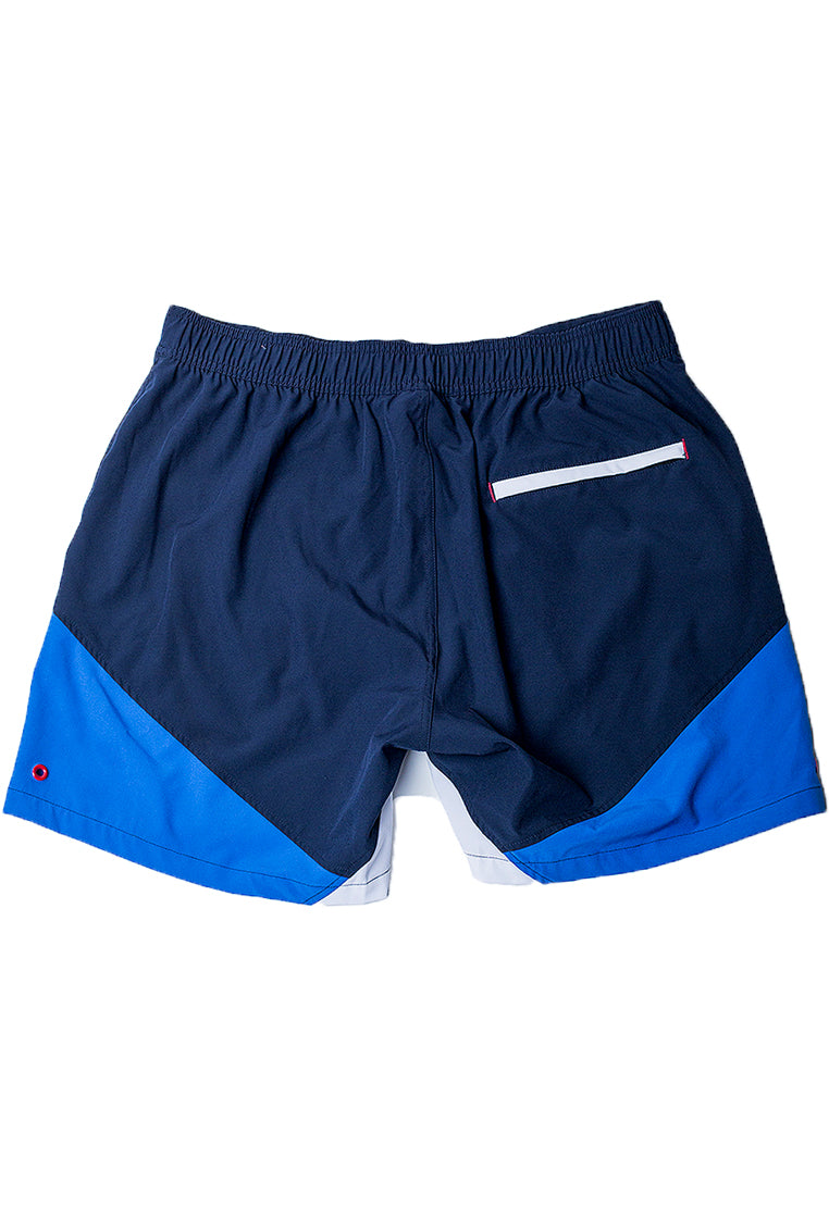 "Eco-Friendly Quick dry UV protection Perfect fit Blue Beach Shorts ""Butterfly"" Side pockets and back zipper pocket"