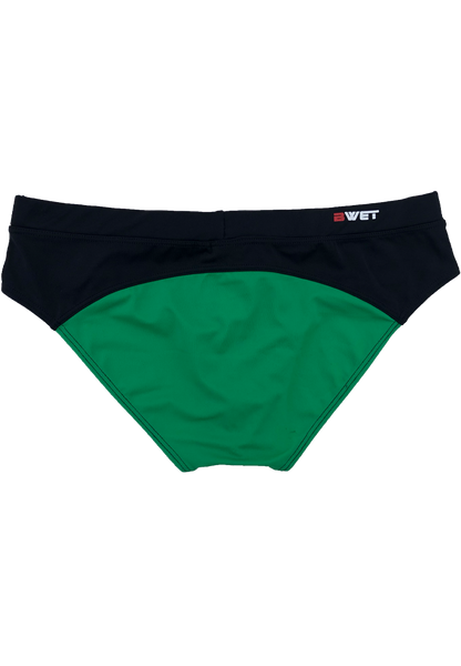 "Men's Beach Briefs ""Utah"" by BWET Swimwear - Green/Black"