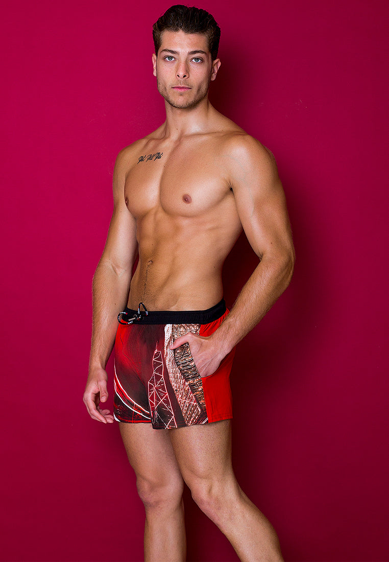 "Eco-Friendly Quick dry UV protection Perfect fit Red Beach Shorts ""HKG"" Side and back pockets"