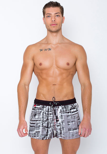 "Men's Beach Shorts ""BKK"" by BWET Swimwear - Red, Navy, Black"