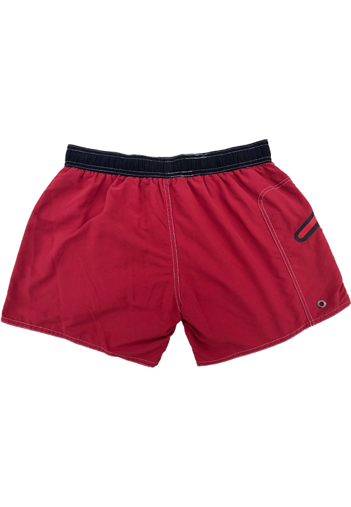 "Quick dry UV protection Perfect fit Maroon Beach Shorts ""OZONE"" Right pocket with zipper Left pocket"
