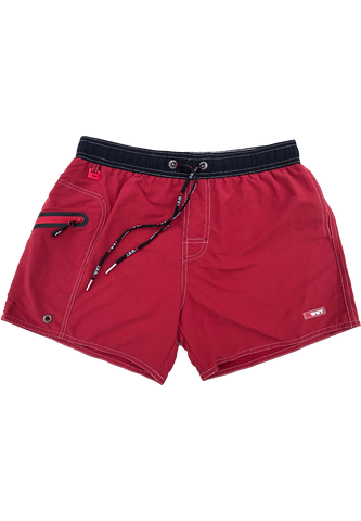 "Eco-Friendly Beach Shorts ""Eclipse"" Quick Dry UV Protection and Pockets - Maroon, Yellow"