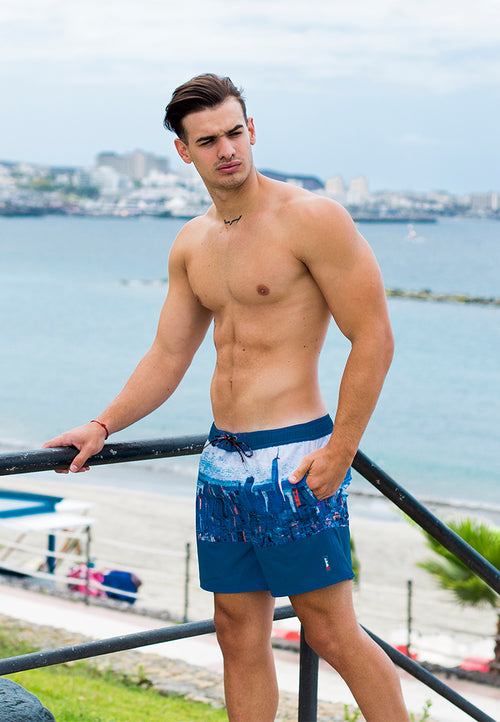 "Eco-Friendly Quick dry UV protection Perfect fit Blue Beach Shorts ""NYC"" Side pockets"