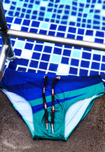 "Eco-Friendly Quick dry UV protection Perfect fit Blue/Green Beach Briefs ""SUNLIGHT"""