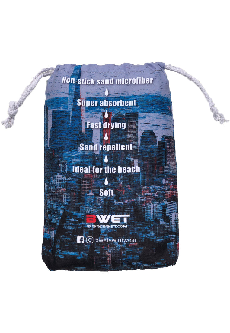Super absorbent Sand repellent Fast drying Super soft 'non-stick sand' microfibre Blue Beach Towel NYC by BWET Swimwear