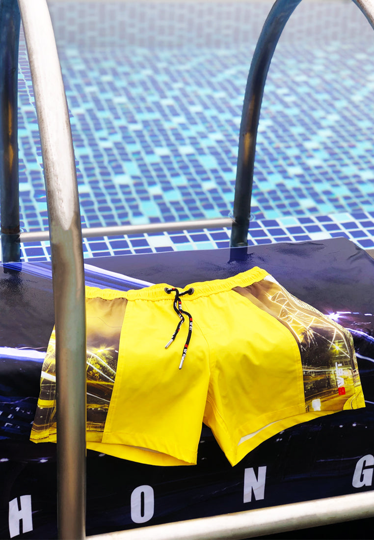 "Eco-Friendly Quick dry UV protection Perfect fit Yellow Beach Shorts ""HKG"" Side pockets"