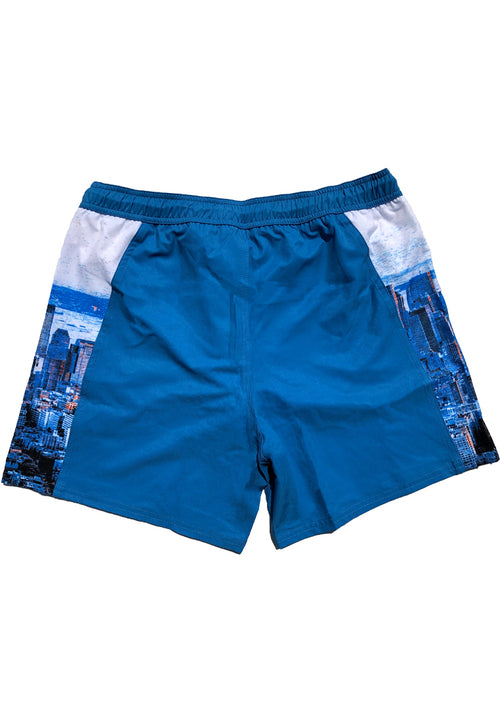 "Eco-Friendly Quick dry UV protection Perfect fit Blue Beach Shorts ""HKG"" Side pockets"