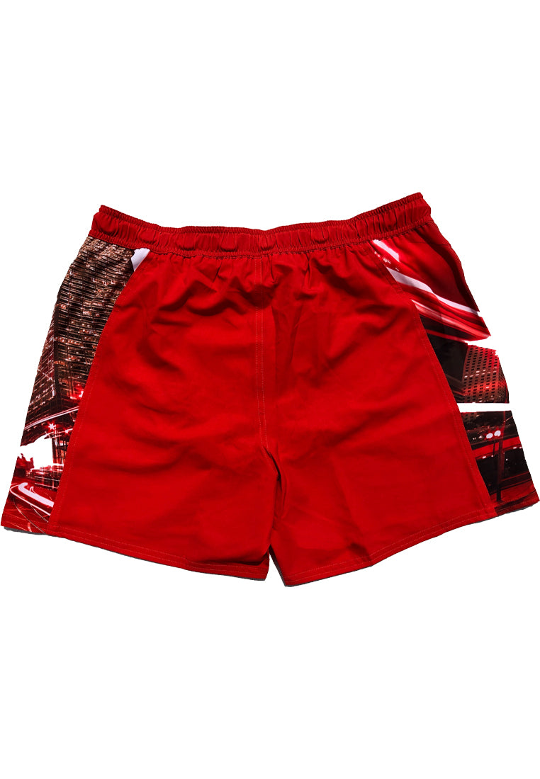 "Eco-Friendly Quick dry UV protection Perfect fit Red Beach Shorts ""HKG"" Side pockets"