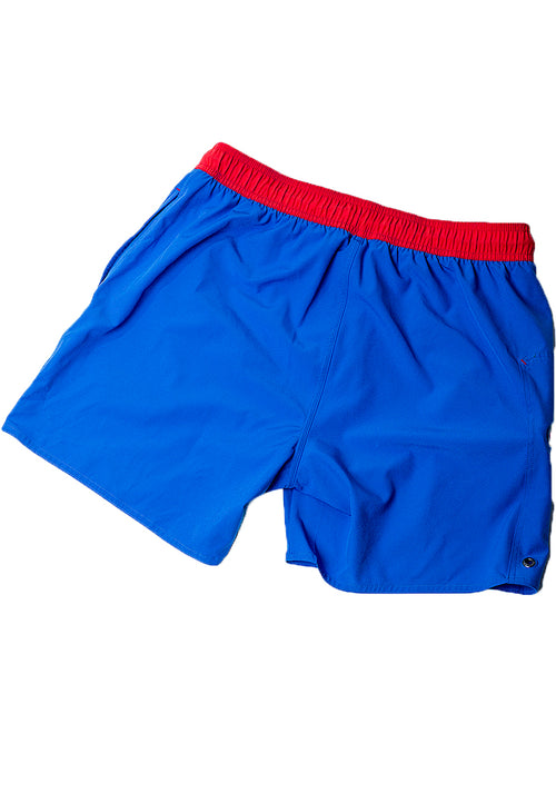 "Eco-Friendly Quick dry UV protection Perfect fit Blue Beach Shorts ""OZONE"" Right pocket with zipper Left pocket."
