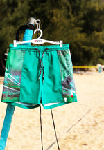"Eco-Friendly Quick dry UV protection Perfect fit Green Beach Shorts ""HKG"" Side pockets"