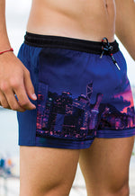 "Eco-Friendly Quick dry UV protection Perfect fit Purple Beach Shorts ""HKG"" Side and back Pockets"