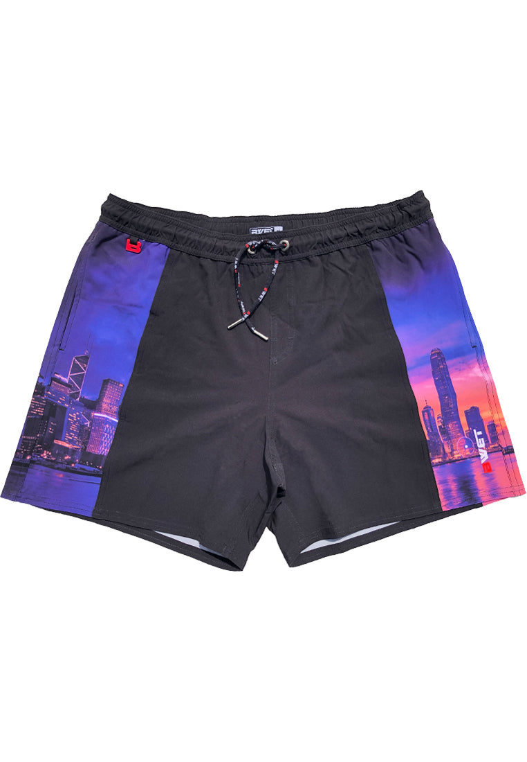 "Eco-Friendly Quick dry UV protection Perfect fit Black Beach Shorts ""HKG"" Side pockets"