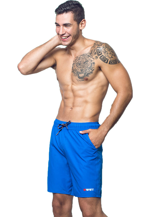 "Eco-Friendly Quick dry UV protection Perfect fit Blue Beach Shorts ""Neptune"" Right side velcro pocket and Side pockets"