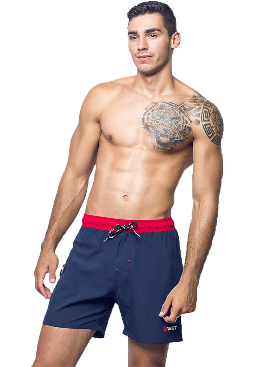 "Eco-Friendly Quick dry UV protection Perfect fit Navy Beach Shorts ""OZONE"" Right pocket with zipper Left pocket."