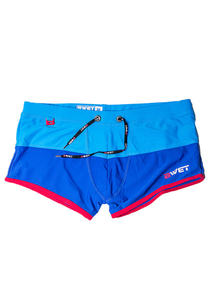 "MEN'S BEACH TRUNKS ""SENTOSA"" BY BWET SWIMWEAR - BLUE, TURQUOISE, BLACK, RED, NAVY"