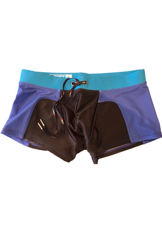 "Men's Beach trunks ""Rooftop"" by BWET Swimwear - Turquoise, Red, Navy"