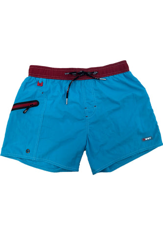 "Men's Beach trunks ""Rooftop"" by BWET Swimwear - Red, Navy, Turquoise"