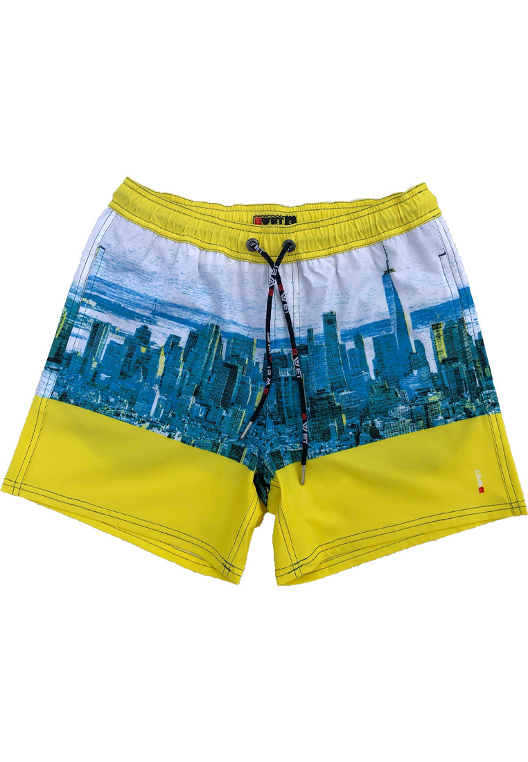 "Eco-Friendly Quick dry UV protection Perfect fit Yellow Beach Shorts ""NYC"" Side pockets"