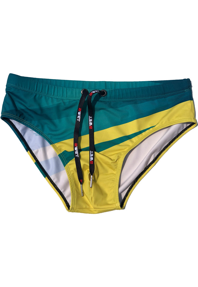 "Eco-Friendly Quick dry UV protection Perfect fit Green/Yellow Beach Briefs ""SUNLIGHT"""