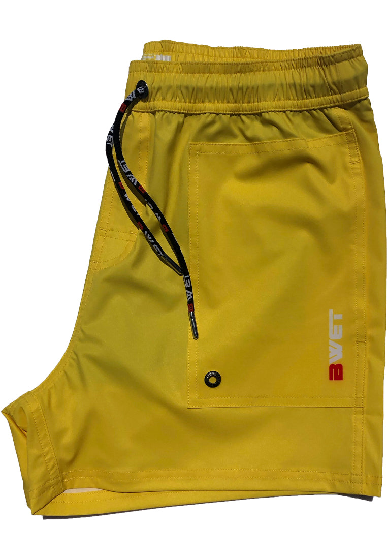"Eco-Friendly Quick dry UV protection Perfect fit Yellow Beach Shorts ""Eclipse"" Side pockets"