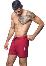 "Eco-Friendly Quick dry UV protection Perfect fit Maroon Beach Shorts ""Eclipse"" Side pockets"